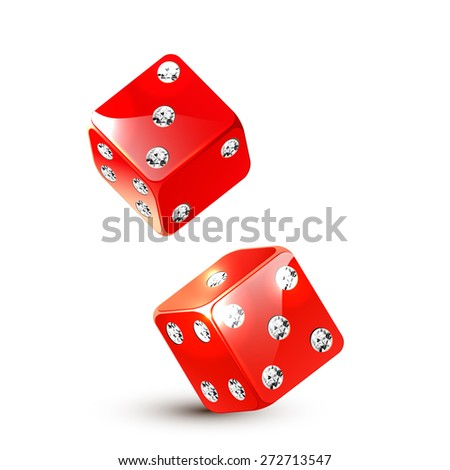 Two red dices with diamonds.Vector illustration. - stock vector