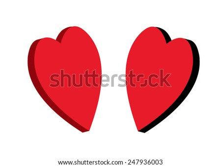 two  red heart 3D on a white background - stock vector