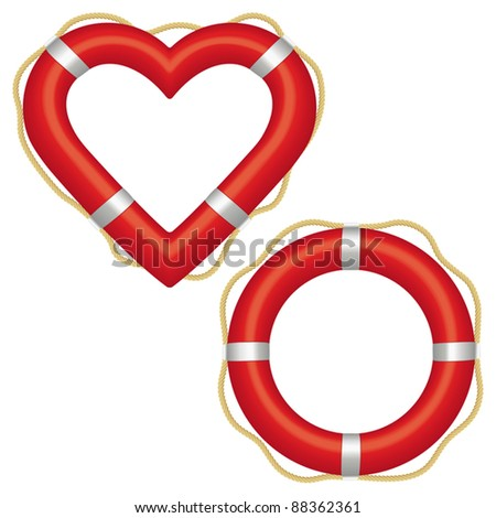 Two red lifebuoys, one in the shape of a ring and the other a heart preserver. - stock vector