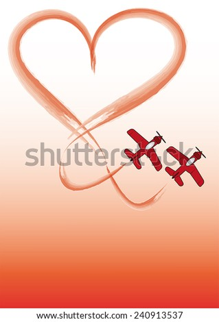 Two red planes are drawing a heartshape with contrails. - stock vector