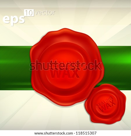 Two red wax seals emblem glossy copyspace icons, eps10 vector - stock vector