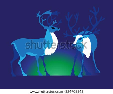 Two reindeers and bright Aurora in the tundra - stock vector