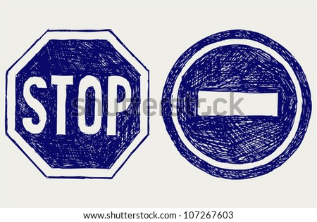 Two  road signs. Sketch - stock vector