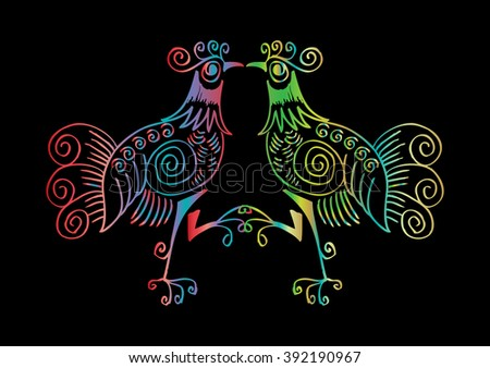 Two roosters. Decorative style illustration. - stock vector