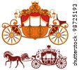 Two Royal carriage. Detailed image and silhouette. - stock vector