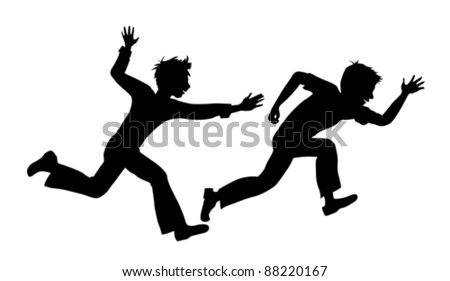 two running boy on white background vector - stock vector