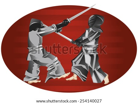 two samurais fighting with swords - stock vector