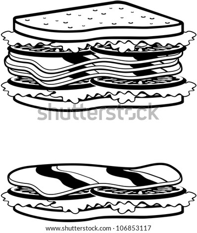 Two sandwiches icons. vector - stock vector