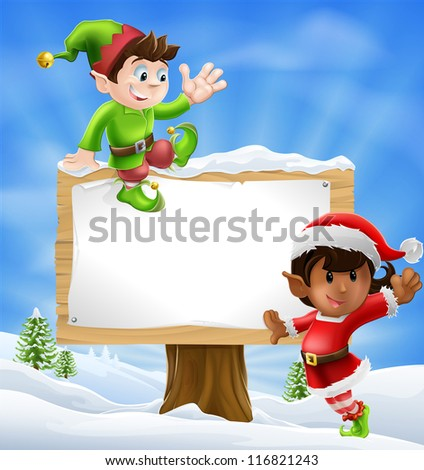 Two Santa's helper type Christmas characters with a large sign with copyspace - stock vector