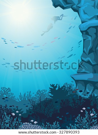 Two scuba divers and coral reef with school of fish on a blue seascape. Underwater vector illustration. - stock vector