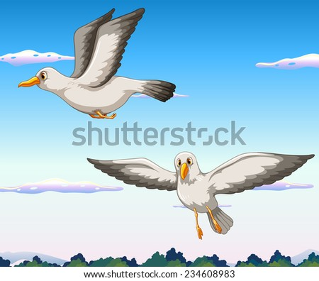 Two seagulls flying in the sky - stock vector