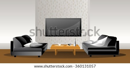 Two seats and table - Illustration. Domestic room with big screen on the wall.  - stock vector