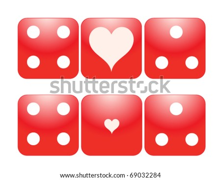 Two sets of Gambling Dice with large and small Hearts.Perfect for Valentine theme. eps 10 - stock vector