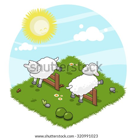 Two sheep jumping crossover wooden fences (isometric view)  - stock vector