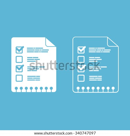 Two sheets of paper with ticks. Outline and flat style. - stock vector