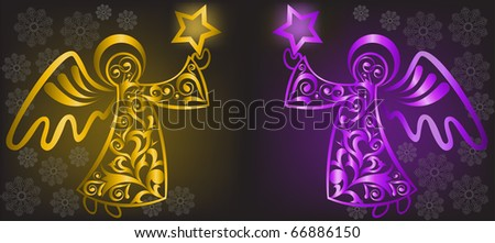 two shimmering Christmas angel with stars on a black background - stock vector