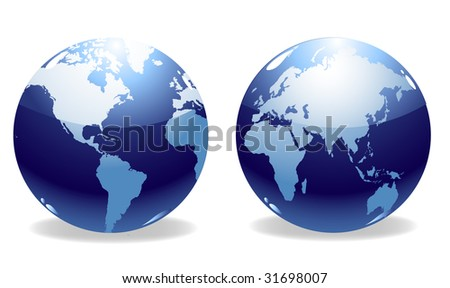 Two shiny world globes vector - stock vector