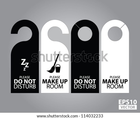 Two Side Black and White Door Hanger Tags for Room in Hotel or Resort - EPS10 Vector - stock vector