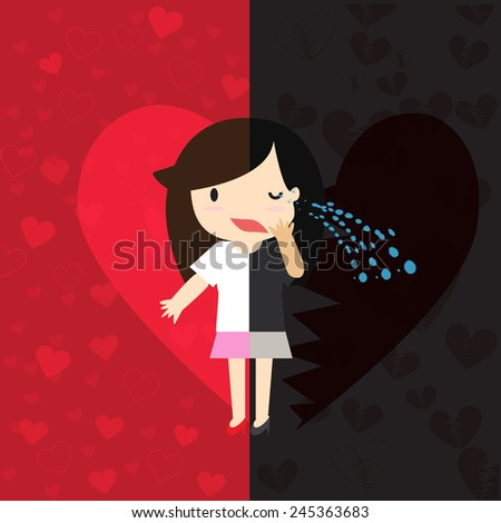 Two Sides of Love With both happy and sorrow. - stock vector