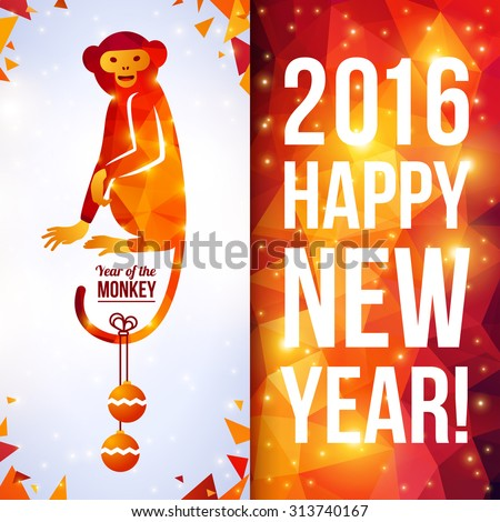 Two sides vertical flyer with geometric pattern Monkey. Vector illustration. Chinese astrological sign. New Year 2016. Shining background made up from triangles. Sitting Smiling Monkey Cute Character - stock vector
