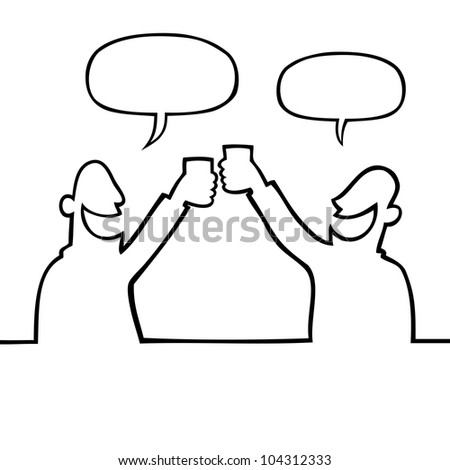 Two smiling people toasting with raised glasses - stock vector