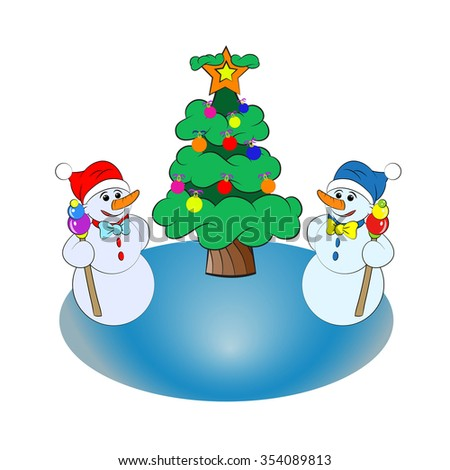 Two snowmen wearing red and blue hat near the Christmas tree on the ice - stock vector
