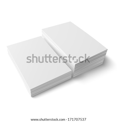 Two stacks of blank business cards of different heights on white background with soft shadows. Vector illustration. EPS10. - stock vector