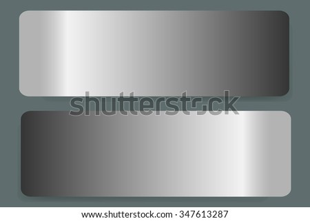 Two stainless steel horizontal labels vector with shadows on the trendy green background. - stock vector