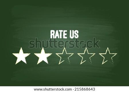 Two Star Feedback Rate Us On Green Blackboard - stock vector