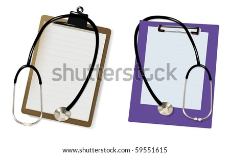 Two stethoscopes and blanks clipboards. Vector. - stock vector