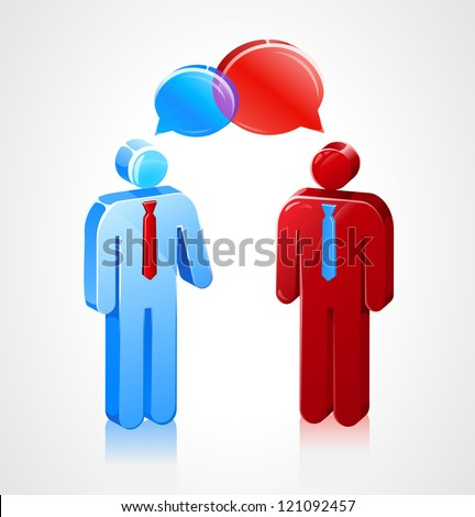Two stick figures speaking to each other with talk bubbles. - stock vector