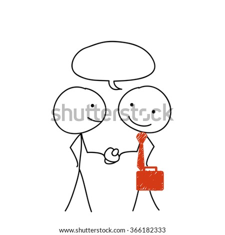 two stickman and speech bubble and handshake - stock vector