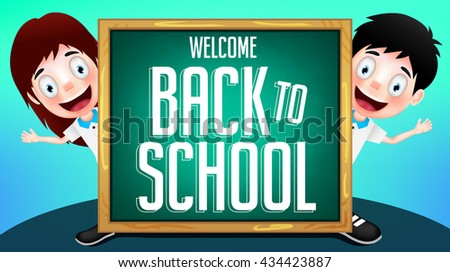 Two Student Vector Characters in Uniform Holding Chalkboard with Back to School Text. Vector Illustration  - stock vector