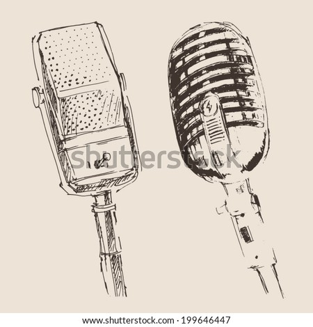 two studio microphone vintage illustration, engraved retro style, hand drawn, sketch - stock vector