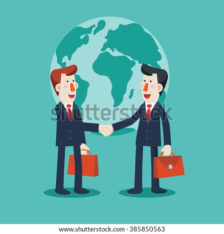 Two successful and smiling businessmen shake hands over world map. Partnership, cooperation, international collaboration and teamwork in business vector concept. Modern design illustration - stock vector