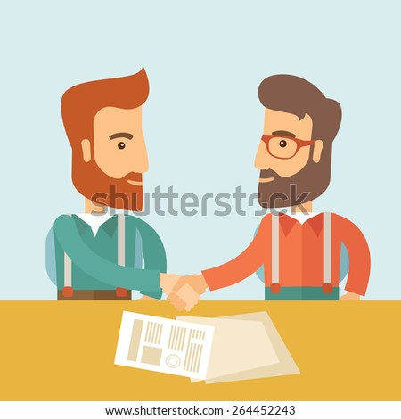 Two successful hipster Caucasian businessmen with beard handshaking. Hipster businessmen on a meeting signing the agreement with papers on the table. Partnership, leadership concept. A contemporary - stock vector
