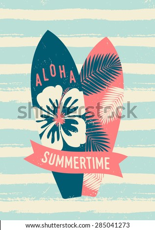 "Two surfboards and a red banner with text ""Summertime"". Light blue and cream brush strokes texture. - stock vector"
