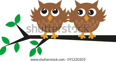two sweet brown owls - stock vector