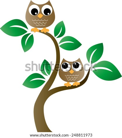 two sweet brown owls in a tree - stock vector