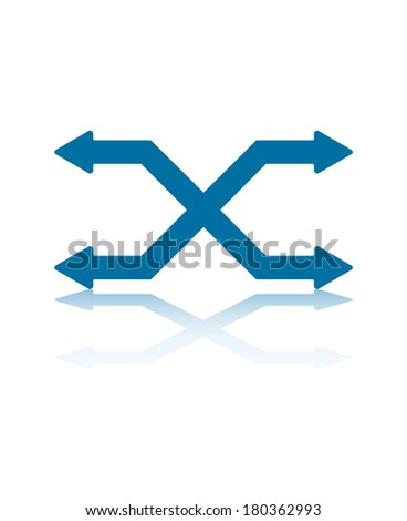 Two Switching Horizontal Arrows With Four Arrowheads - stock vector