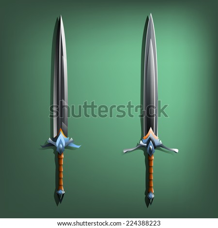 Two swords. Vector illustration. - stock vector