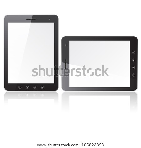 Two tablet PC computer with blank screen  isolated on white background. Vector  illustration. - stock vector