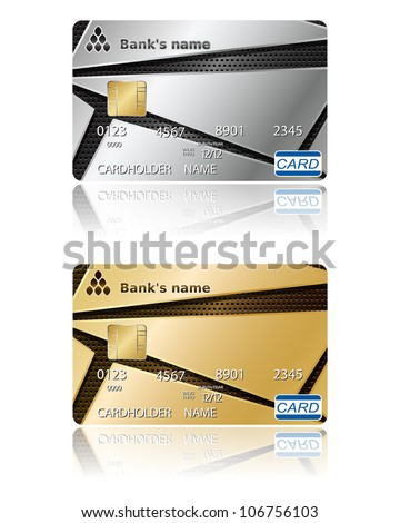 Two template for credit cards. Vector illustration. EPS10. - stock vector