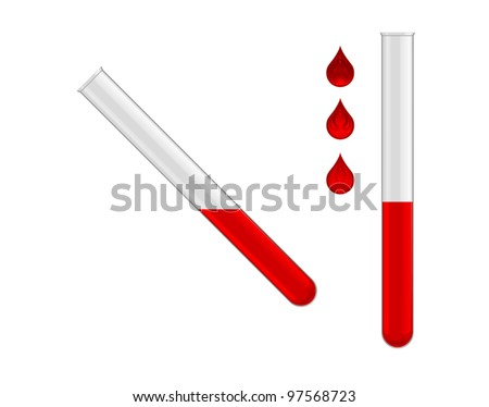 two test tubes with red liquid on white background - stock vector