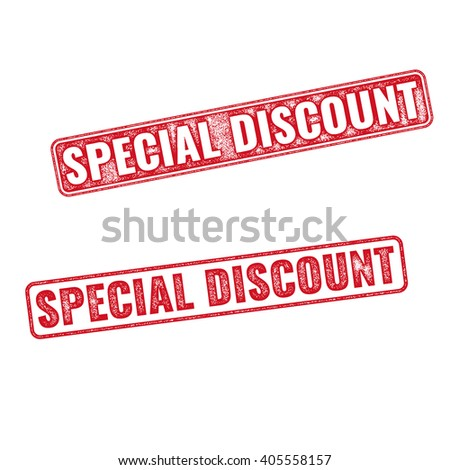 Two textured stamps Special Discount. Vector realistic Special Discount imprints isolated on white background - stock vector