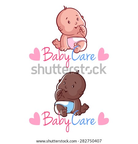 Two toddler in white diapers. Vector cartoon character on white background. Caucasian and african american babies. Baby care logo template with hearts. - stock vector