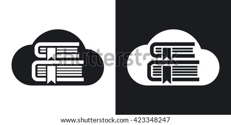 Two-tone version of Online Library or Cloud Library simple icon on black and white background - stock vector