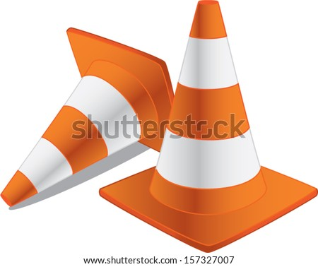 two traffic cones isolated - stock vector