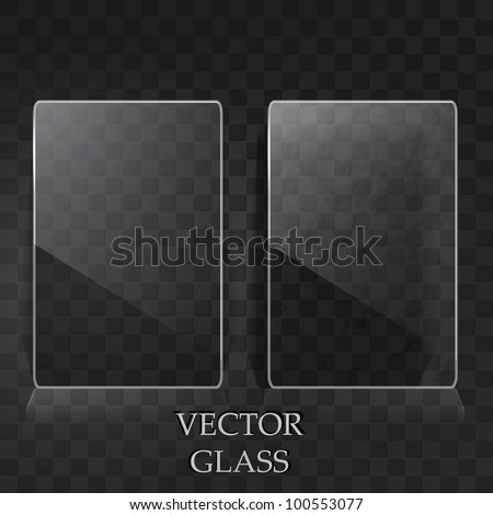 Two transparent labels on the black metal surface - stock vector