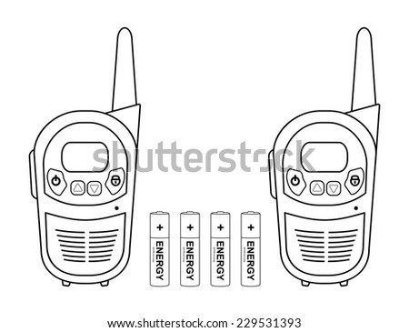 Two travel black portable mobile vector radio set devices wit 4 accumulator batteries. Contour lines illustration isolated on white - stock vector